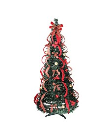 6' Pre-Lit Gold and Red Plaid Decorated Pop-Up Artificial Christmas Tree - Multi Lights