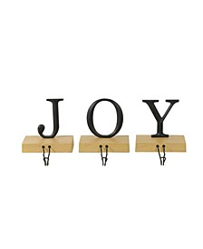 Set of 3 Metal and Wood JOY Weighted Christmas Stocking Holder
