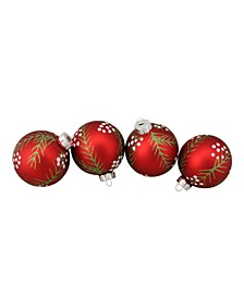 """4ct Red with Pine Needle Pattern Christmas Glass Ball Ornaments 3.25"""" 80mm"""
