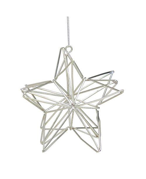 "Northlight 4.5"" Metallic Silver Geometric Star Christmas Ornament"