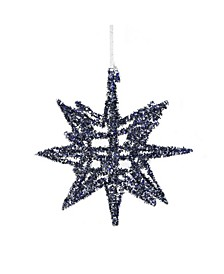 "7"" Blue Geometric Tinsel Starburst Hanging Christmas Ornament"