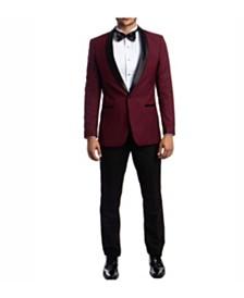 Azzuro Men's Slim Fit Solid Satin Shawl Collar Tuxedo
