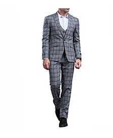 Men's Skinny Fit Plaid Peak Lapel Suit