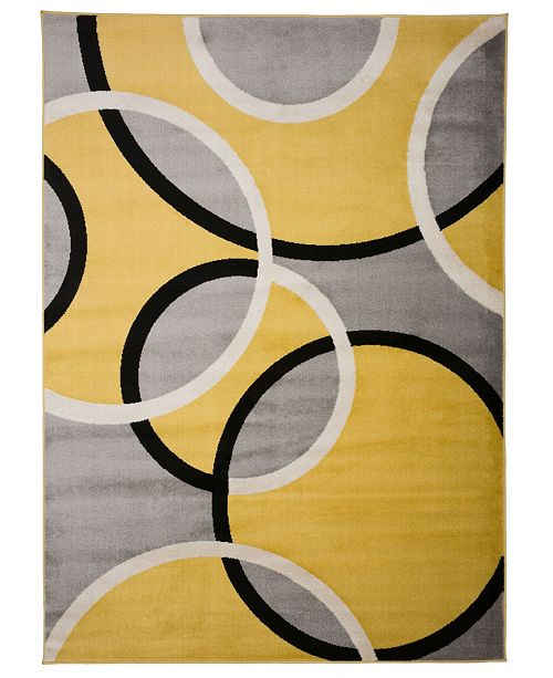 "Main Street Rugs Home Alba Alb368 Yellow 3'3"" x 5' Area Rug"