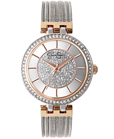 Women's Pave Crystal Silver Tone Mesh Watch 36mm