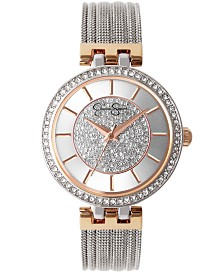 Jessica Simpson Women's Pave Crystal Silver Tone Mesh Watch 36mm