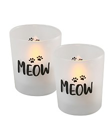 "Lumabase Battery Operated Wax Filled Glass LED Candles, ""Meow"", Set of 2"