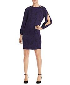 Printed Split-Sleeve Dress