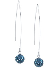 Pave Crystal Ball on a Thread Wire Earrings Set in Sterling Silver. Available in Clear, Dark Blue or Red