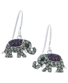 Black and Gray Pavé Crystal Elephant Wire Drop Earrings set in Sterling Silver