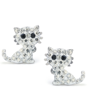 Clear Pave Crystal Cat Stud Earrings set in Sterling Silver