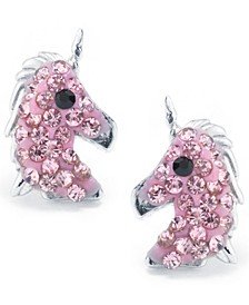 Pink Pave Crystal Unicorn Stud Earrings set in Sterling Silver