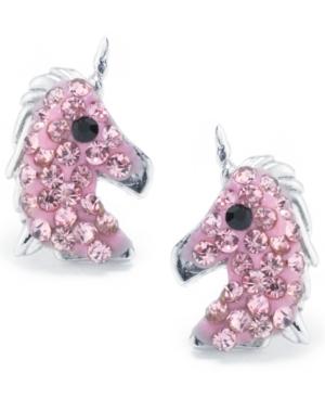 Pink Pave Crystal Unicorn Stud Earrings set in Sterling Silver