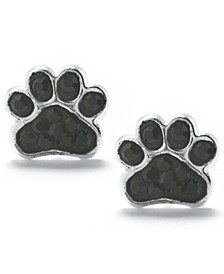 Black Pave Crystal Dog Paw Stud Earrings set in Sterling Silver