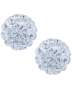 Crystal 8mm Pave Earrings in Sterling Silver. Available in Clear