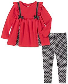 Baby Girls 2-Pc. Pleated Tunic & Printed Leggings Set