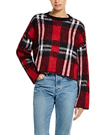 Plaid Bell-Sleeve Sweater