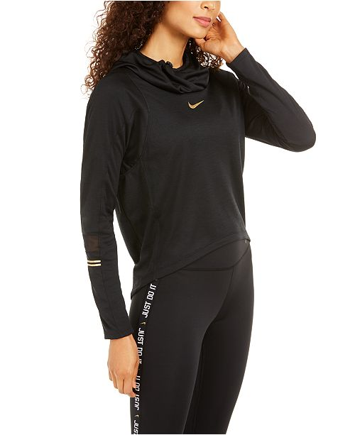 Nike Women's Metallic Logo Funnel-Neck Training Top