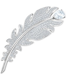 Silver-Tone Crystal Pear & Pavé Feather Pin