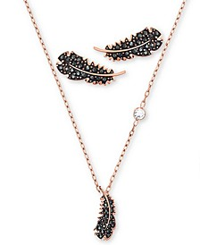 "Rose Gold-Tone Crystal Feather Pendant Necklace & Earrings Set, 14-7/8"" + 2"" extender"