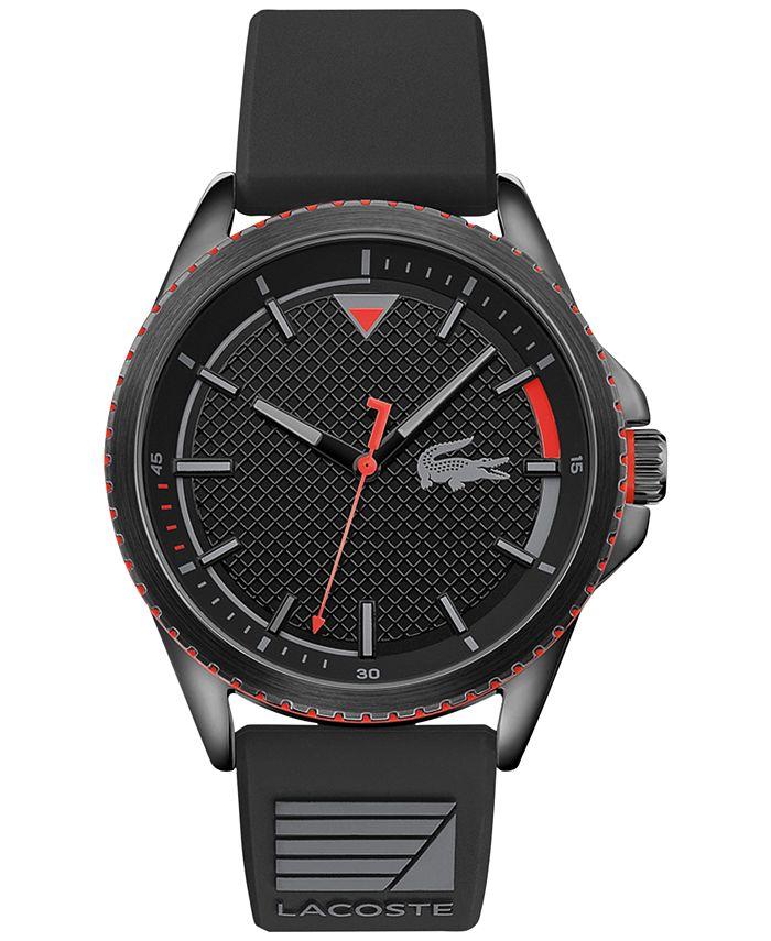 Lacoste - Men's Cap Marino Black Silicone Strap Watch 44mm