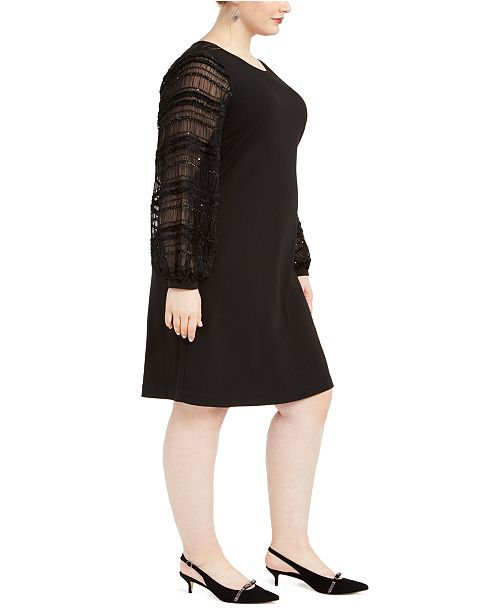 Plus Size Embellished-Sleeve Shift Dress, Created For Macy\'s
