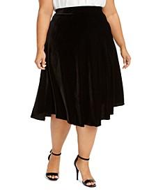 Plus Size Velvet A-Line Midi Skirt