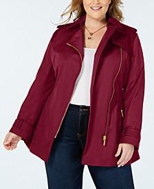 Plus Side-Zip Trench Coat