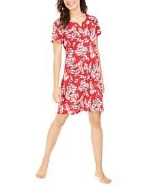 Short Sleeve Cotton Floral-Print Sleep Shirt, Created For Macy's