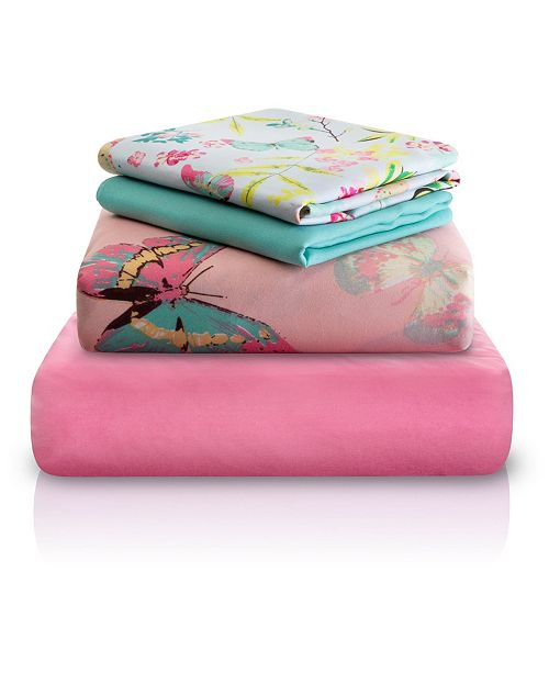 Chital Pink Decorative Butterfly Print Double-Brushed Microfiber 4 Piece Sheet Set Collection