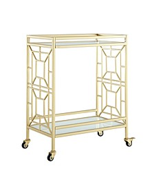 Jared Serving Bar Cart with Glass Shelves and Metal Frame