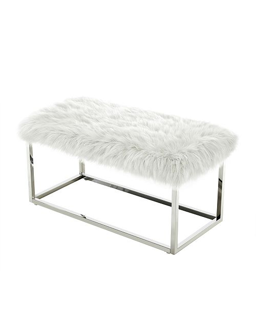 Super Monet Faux Fur Bench With Metal Frame Squirreltailoven Fun Painted Chair Ideas Images Squirreltailovenorg