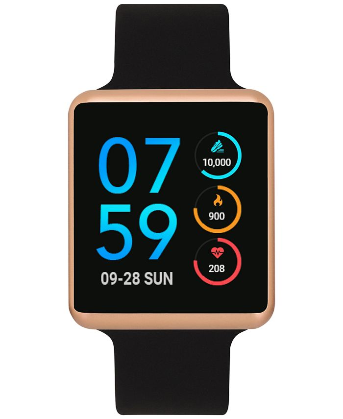 iTouch - Unisex Air Black Silicone Strap Smart Watch 35x41mm