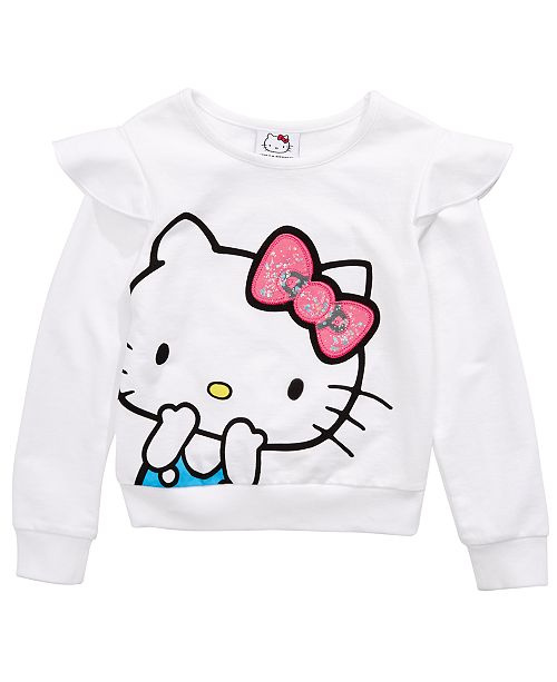 Hello Kitty Little Girls Ruffled Sweatshirt