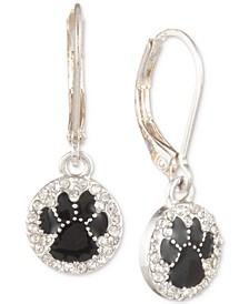 Silver-Tone Black Paw Pavé Drop Earrings