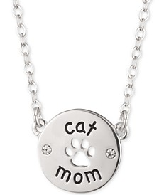 "Silver-Tone Cat Mom Pendant Necklace, 16"" + 3"" extender"