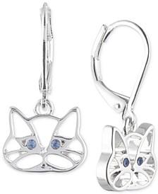 Silver-Tone Blue Crystal Cat Drop Earrings