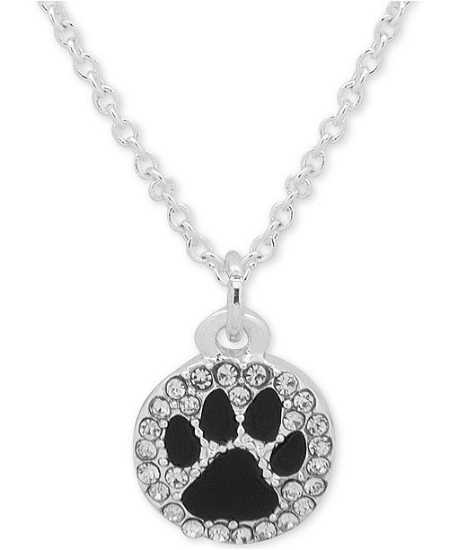 "Pet Friends Jewelry Silver-Tone Black Paw Pavé Pendant Necklace, 16"" + 3"" extender"