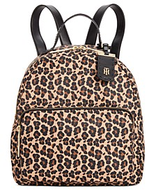 Julia Leopard Nylon Dome Backpack