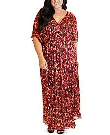 Plus Size Printed Flutter-Sleeve Maxi Dress