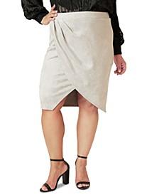 Plus Size Faux-Suede Tulip Skirt
