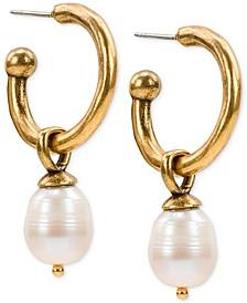 Gold-Tone Imitation Pearl Drop Hoop Earrings