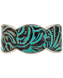 Silver-Tone Turquoise Leather Cuff Bracelet