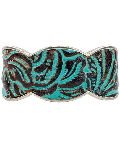 Patricia Nash Silver-Tone Turquoise Leather Cuff Bracelet