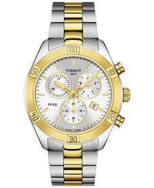 Tissot Women's Swiss Chronograph T-Classic PR 100 Two-Tone PVD Stainless Steel Bracelet Watch 38mm
