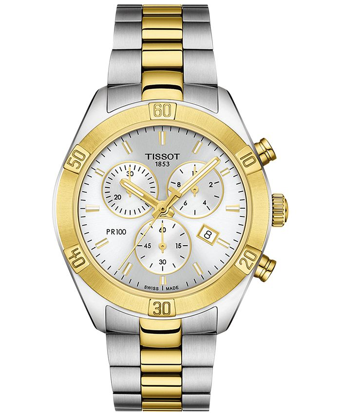 Tissot - Women's Swiss Chronograph T-Classic PR 100 Two-Tone PVD Stainless Steel Bracelet Watch 38mm