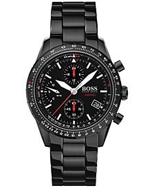 Men's Chronograph Aero Black Stainless Steel Bracelet Watch 44mm