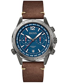 Men's Chronograph Nomad Brown Leather Strap Watch 44mm