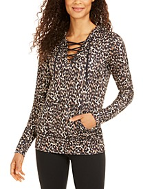 Leopard-Print Lace-Up Hoodie, Created for Macy's