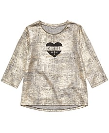 Big Girls Gold Logo-Print Knit Top